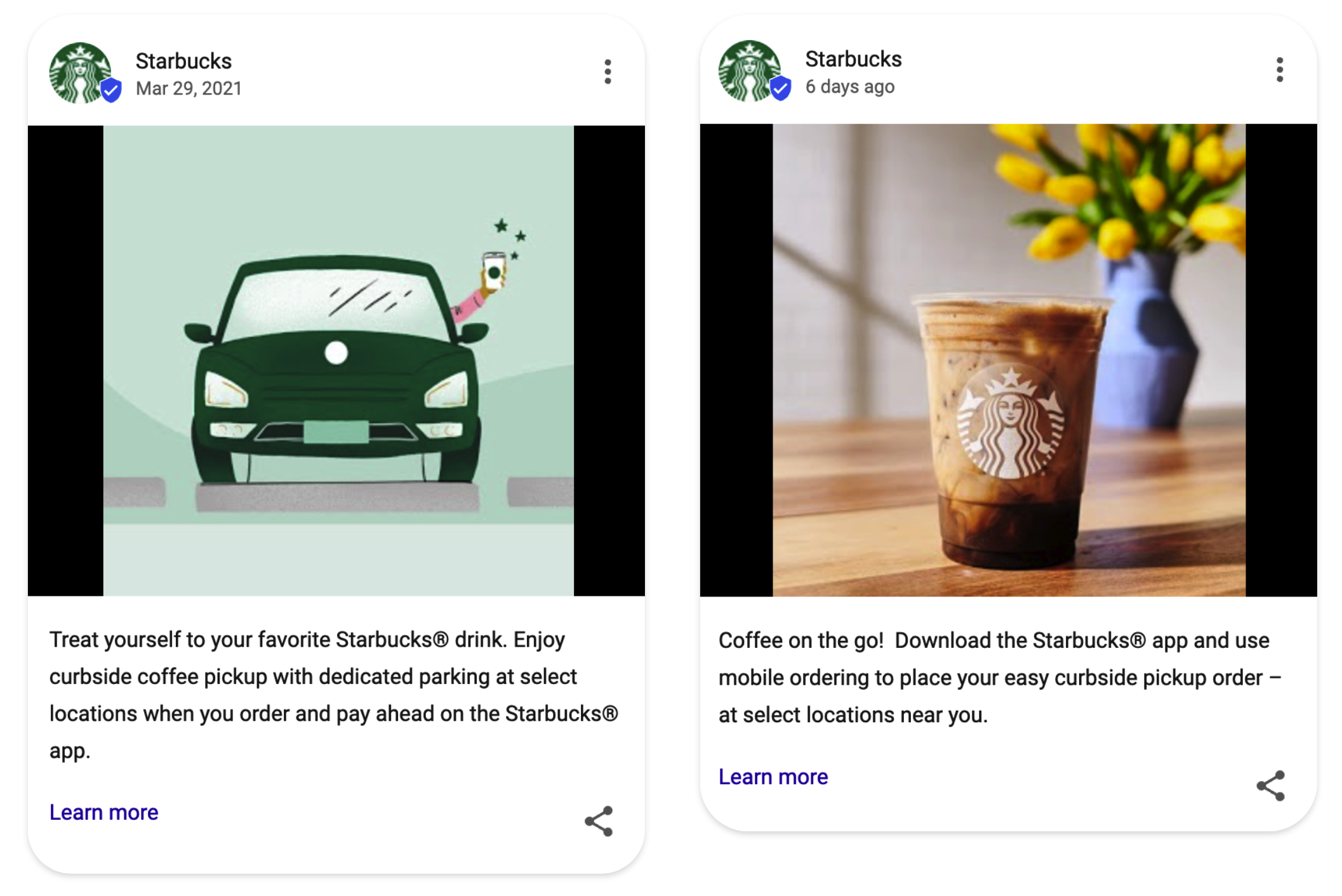 Starbucks Google Posts examples