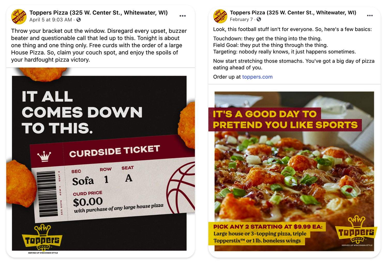 Toppers Pizza social post examples